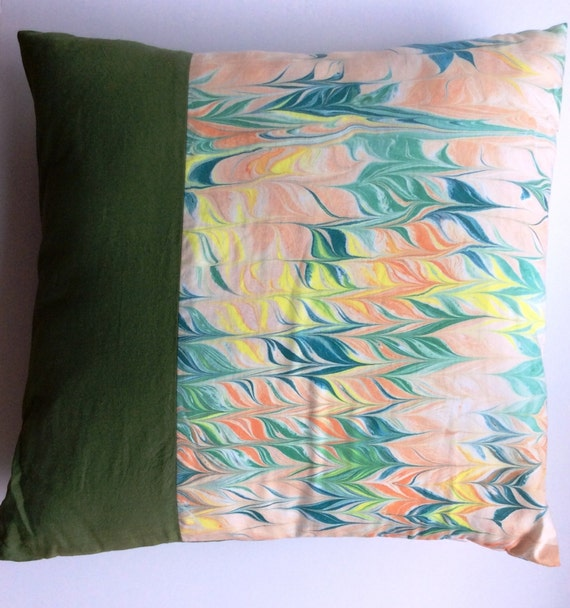 How To Make Throw Pillow Covers By Hand : Hand painted green throw pillow cover