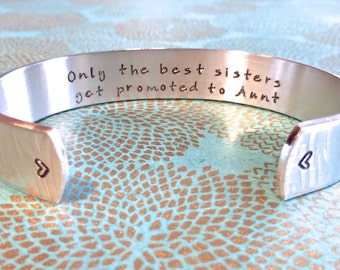 Aunt Gift | Auntie Gift | Sister Gift | Only the best sisters get promoted to Aunt. - Custom Hand Stamped Bracelet by MadeByMishka.com