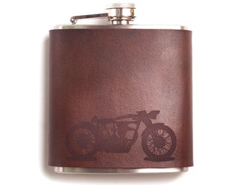 Men's Gifts, Café Racer Leather Flask, leather anniversary, hip flask, motorcycle, 3rd anniversary gift for man, leather anniversary for him