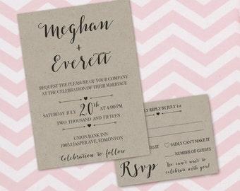 Rustic Chic Wedding Invitation, Kraft Paper Wedding Invite, Wedding Invitation, Hearts Arrows Wedding Invite, Simple Wedding Invitation