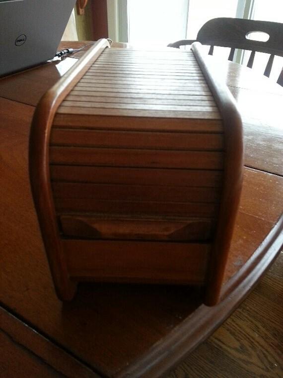 Vintage Teak Wood Roll Top Floppy Disk Or Recipe Storage Box