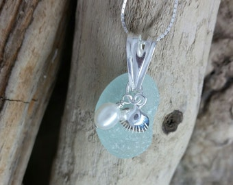 Handmade Sterling Silver Seashell Sea Glass Necklace