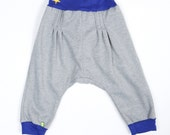 Blue  Harem  Pants Size 3T. UNISEX Comfy and Warm Kids Harem pants. Handmade in Montana