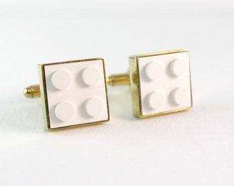 White Lego cufflinks