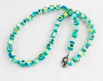 Ocean colored polymer clay square beaded necklace