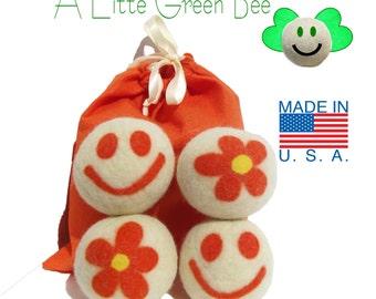 Dryer Sheet Alternative - 100% Wool Dryer Balls - Flower and Happpy face Gift Set of 4 Premiun USA wool fleece needle-felted Smile Bee happy