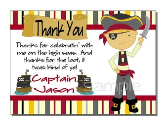 Pirate Thank You Card Birthday Party - DIGITAL or PRINTED