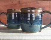 Indigo Blue and Rust Mug
