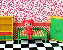 Vintage 1970s Jean German Dollhouse Toy Bedroom for LaLaLoopsy or similar size doll