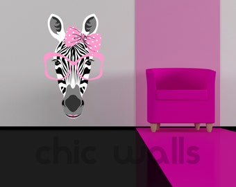 Beautiful Zebra with Pink Bow Tie & Pink Sunglasses Removable Wall Decor Decal Sticker Funny Zebra Girl with Lipstick