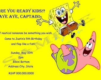 Spongebob Birthday Invitation (option to print)