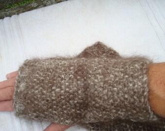Dog hair/wool hand spun and knitted fingerless gloves
