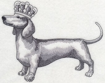Dachshund with Crown Embroidered Kitchen Towel