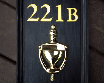 Vintage wooden sign - Door decor '221B Baker street' Sherlock Holmes