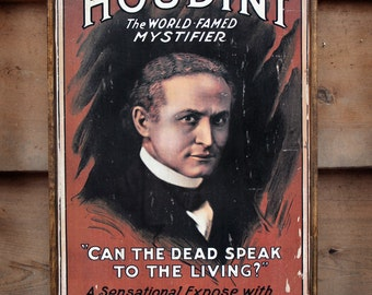 Vintage wooden sign 'Houdini' reproduction