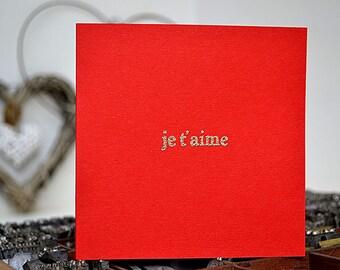 Letterpress Je T'aime (I Love You) Valentine's Day Card