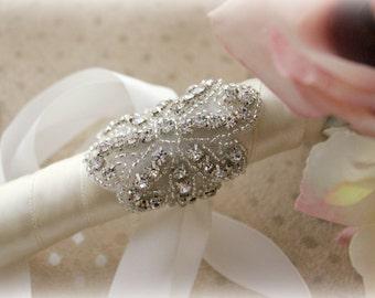 Bouquet Wrap,Rhinestone Bouquet Wrap,Crystal Bouquet Wrap,Bouquet Cuff,Bouquet Holder,Bouquet Jewelry,Beaded Bridal Cuff,Beaded Wedding Cuff