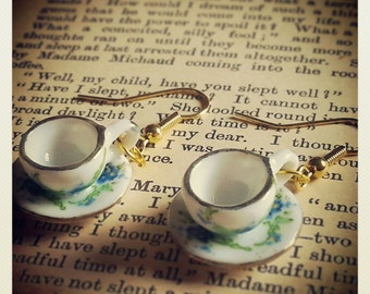 Forget me not miniature porcelain teacup and saucer earrings