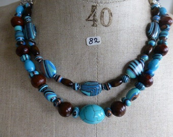 Necklace of striped Turkey turquoise and wooden beads