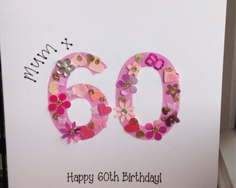 Birthday card any age any colour 30th 40th 50th 60th 70th 80th any colour
