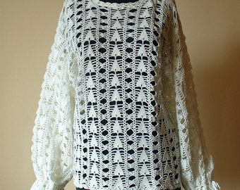 White Hand Crochet Women's Jumper / Hand Crochet Women's Jumper / White sweater / Hand knit Cotton sweater / Crochet eco sweater