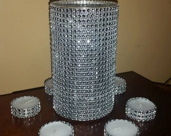 Rhinestone wedding centerpiece + rhinestone tealight candles set ,rhinestone vase,wedding centerpieces,BLING vase