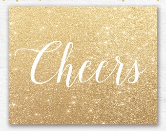 Cheers party PRINTABLE art print 8x10 gold glitter holiday decor New Years party decor, New Years sign, Cheers poster, New Years glitter