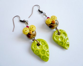 OWL and leaf earrings-earrings with ceramic OWL-OWL earrings-ceramic earrings