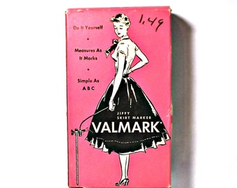 Vintage VALMARK jiffy skirt marker, sewing aid for marking hems, complete in original box, collectable
