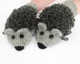 Hand Knitted mittens Adult size Wool Hedgehog mittens   Gray mittens      Handmade mittens Hedgehog mittens
