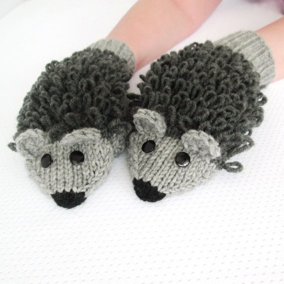 Knitting Pattern Hedgehog Mittens : Hand Knitted mittens Adult size Wool Hedgehog by mymomsshop1