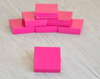 100 Hot Pink 3.5 x 3.5 x 1 Glossy Gift Jewelry Boxes Square with Cotton Fill Gift Boxes