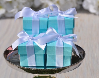 20 BRIDE & Co. Favor Boxes 2x2x2 Square with Lid Aqua Gift Wedding Box Turquoise