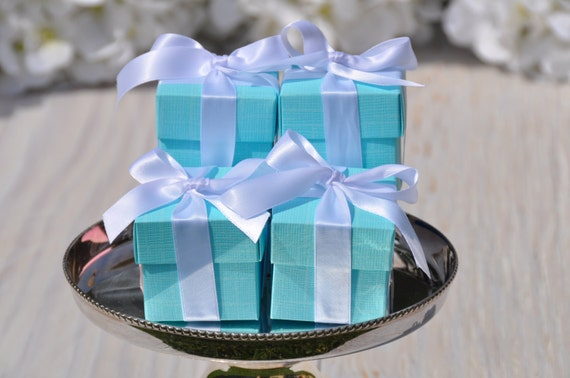 Wedding Gift Collection Boxes: 20 BRIDE & Co. Favor Boxes 2x2x2 Square With Lid Aqua Gift