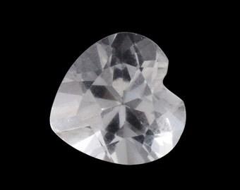 White Topaz Heart Cut Loose Gemstone 1A Quality 9mm TGW 2.95 cts.