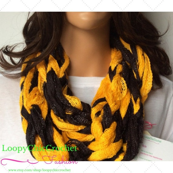 black and gold chunky arm knit infinity scarf by