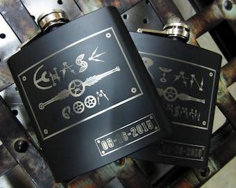 Set of 14 Groomsmen Steampunk Personalized Flask