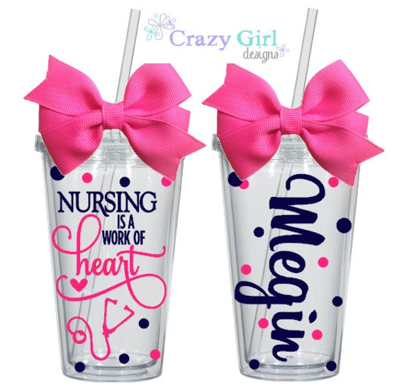 personalized nurse tumbler 16 oz  acrylic cup bpa free custom