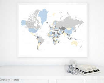40x30 Printable World Map With Countries Names Us States Canadian Provinces