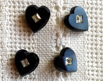 Vintage Heart Glass Chatons Cabochons 10 or 11 x 12mm - Black with Crystal Center - 4