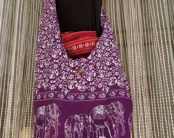 Hippie Elephant Hobo Sling Crossbody Bag Messenger Purse  #Purple3