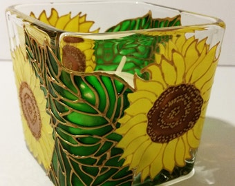Sunflowers!!!! Hand Painted Modern Sunflower Candle Holder (SML)