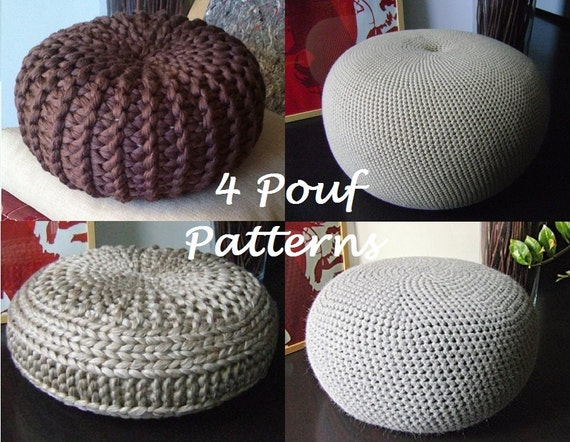 Knitting pattern 4 knitted crochet pouf floor cushion - Knitted pouf ottoman pattern ...
