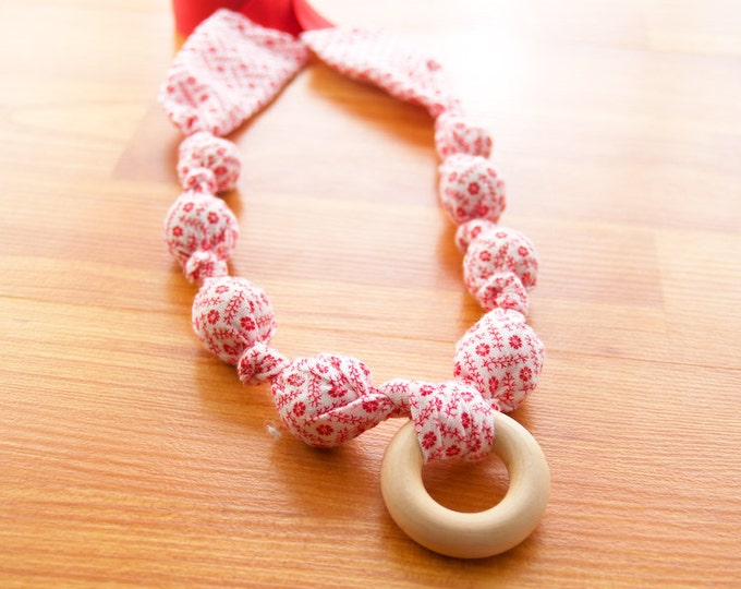 Breastfeeding Nursing Necklace, Teething Necklace, Babywearing Necklace, Fabric Necklace, Mothers Day Gift - Red Floral on White