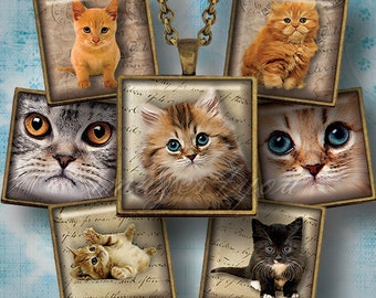 """Kittens & Cats 1"""" square images for pendants 1x1 inch digital collage sheet print 1.5"""" 7/8"""" Scrabble tiles charm printable download cabochon"""