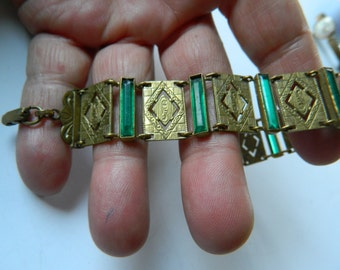 Etched- brass and glass-Panel bracelet- Victorian era-On sale for 84