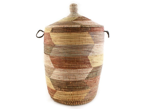 Large African Basket With Lid Storage Hamper By Swahilimodern