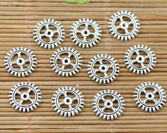 """30 Gears, steampunk, jewelry, vintage,  tibetan silver charms approx. 3/4"""" US Shipper Quick"""