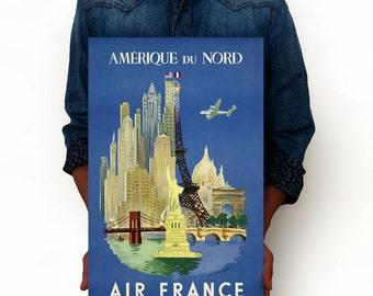 "Air France airline - Amerique Du Nord Vintage Poster, Art Print, Art Posters, Minimalist Art Advertising Vintage Poster 13"" x 19"""