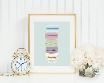 Life is Sweet Macaroons Print